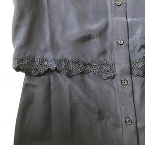 Parker Dresses - Parker Navy Overlay Lace Detail Shirt Dress